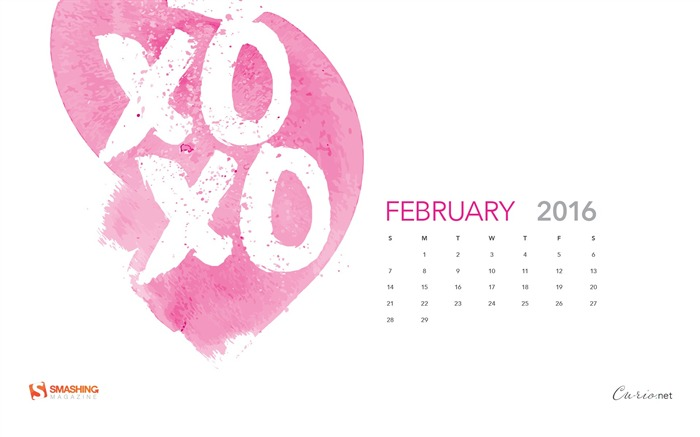 Hugs And Kisses-February 2016 Calendar Wallpaper Views:2059