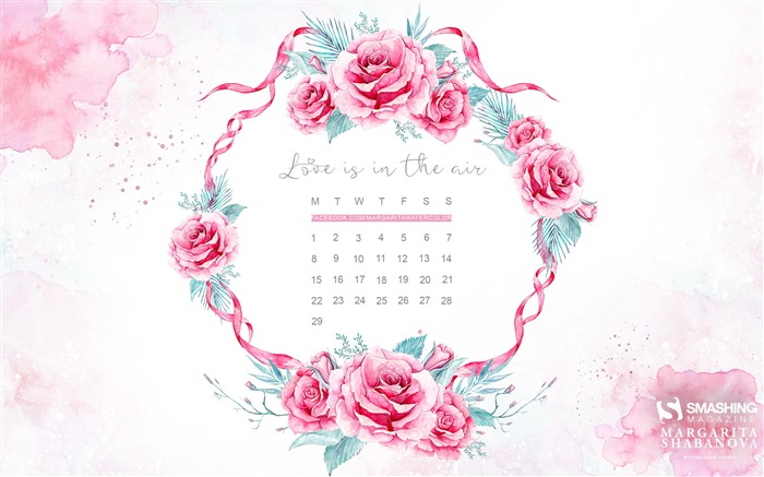 Love Is In The Air-February 2016 Calendar Wallpaper Views:2052