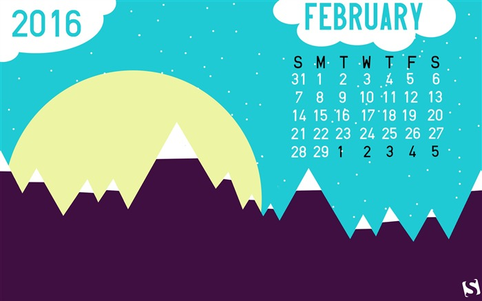 Mountain Scene-February 2016 Calendar Wallpaper Views:2391