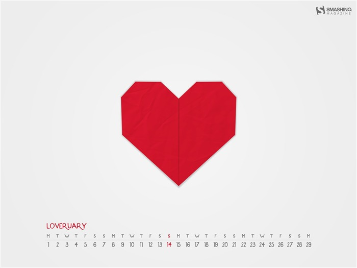 Paper Heart For Loveruary-February 2016 Calendar Wallpaper Views:1369