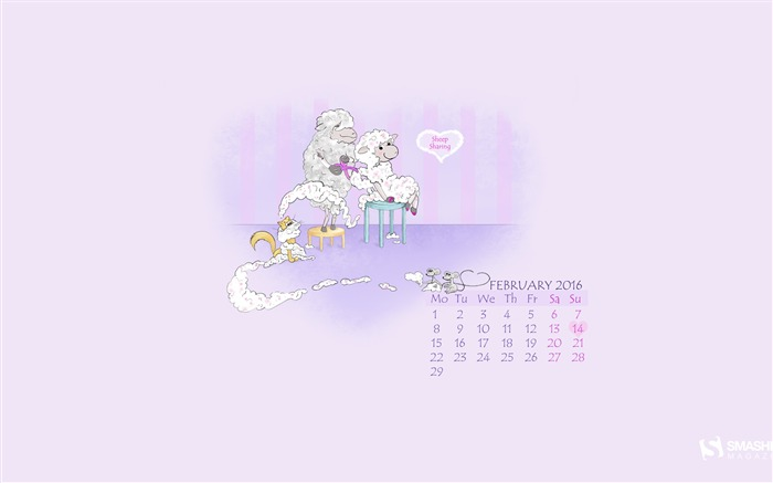 Sheep Sharing-February 2016 Calendar Wallpaper Views:1438