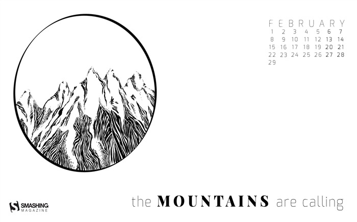The Mountains Are Calling-February 2016 Calendar Wallpaper Views:1203