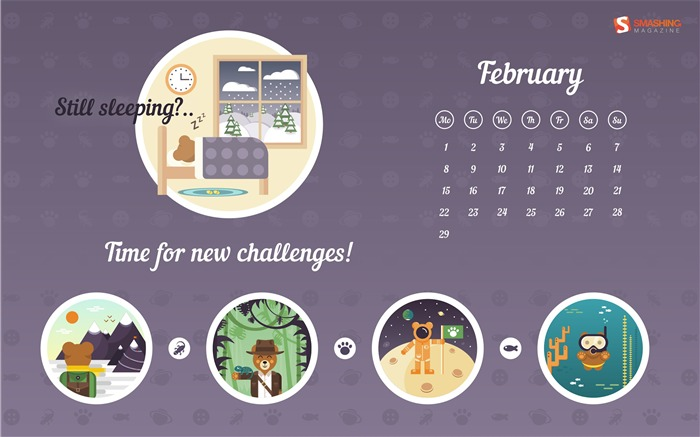 Time To Get Up-February 2016 Calendar Wallpaper Views:1392