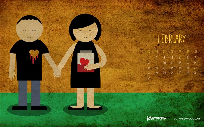 Valentines Day-February 2016 Calendar Wallpaper Views:2143