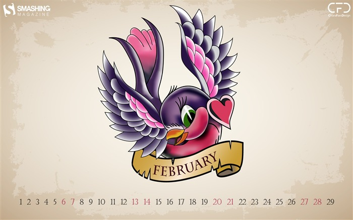 Valentines Day Lovebird-February 2016 Calendar Wallpaper Views:1871