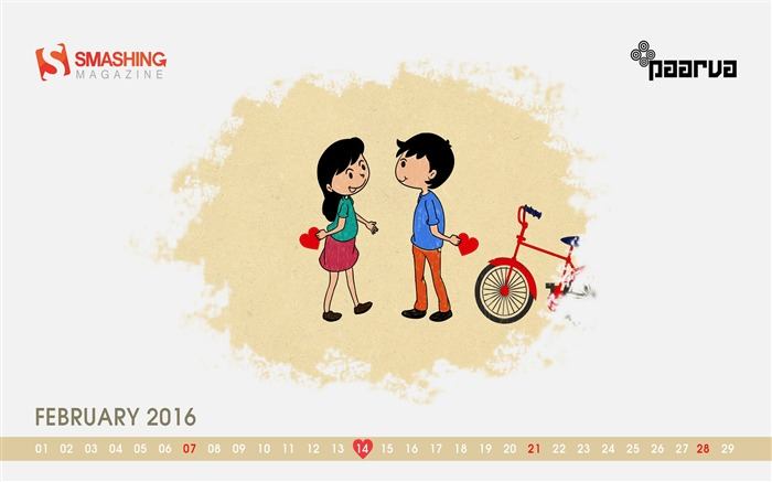 Valentines Day Special-February 2016 Calendar Wallpaper Views:1279