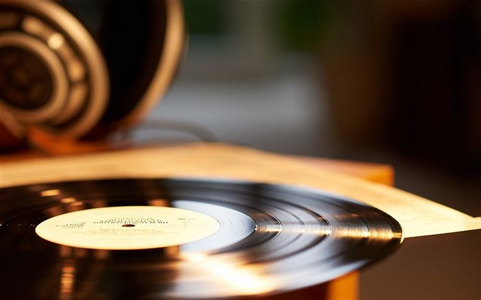 Vinyl record music close up-photography HD wallpaper Views:2568
