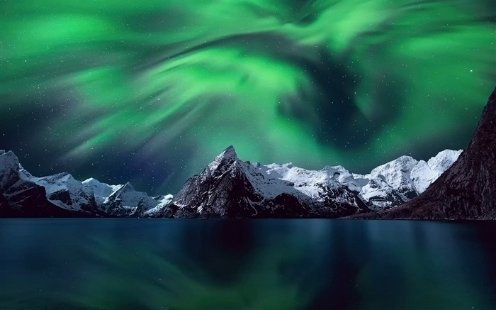 Northern lights mountains snow-Perfect Scenery HD Wallpaper Views:1964