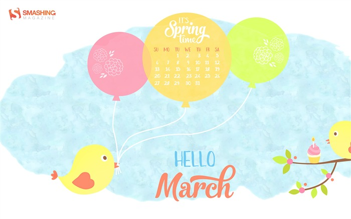 Title:Spring Party-March 2016 Calendar Wallpaper Views:1840