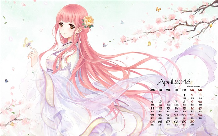 Anime romantic cherry-April 2016 Calendar Wallpaper Views:2101