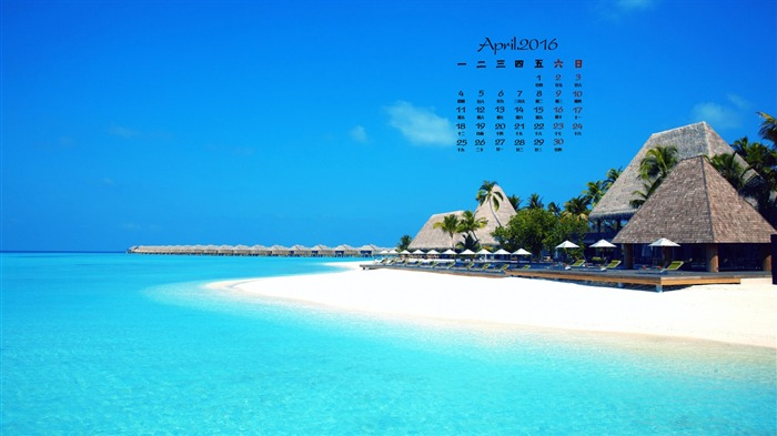 Beach Holiday Villas-April 2016 Calendar Wallpaper Views:1494