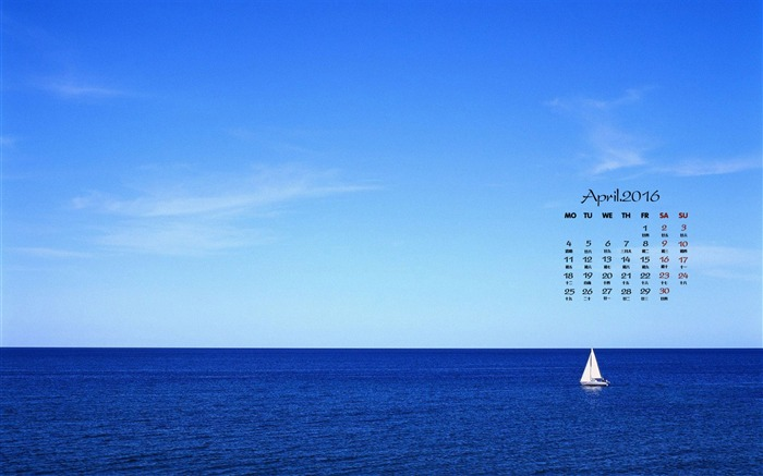 Blue sea-April 2016 Calendar Wallpaper Views:1735