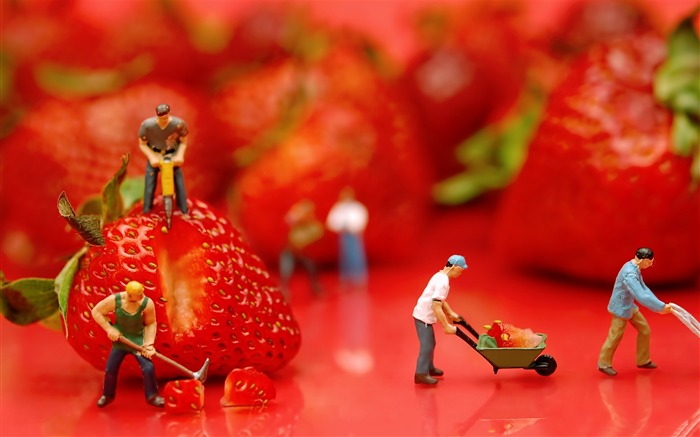 Fruits Miniature Delicious Strawberries-Macro photo HD Wallpaper Views:3790