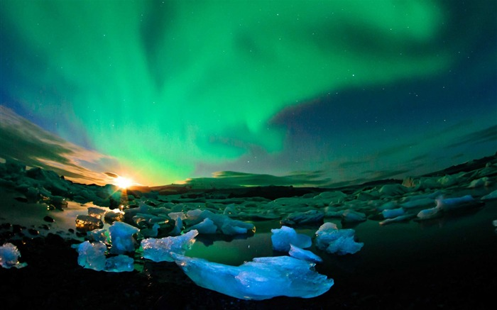 Iceland northern lights sky-Nature Photo HD Wallpaper Views:4133