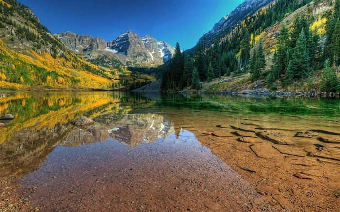 Maroon bells reflected lake-Nature photography HD wallpaper Views:1371
