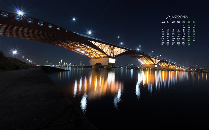 Night view of the bridge in-April 2016 Calendar Wallpaper Views:976