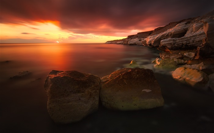 Rocky coastline sunset-Nature Scenery HD Wallpaper Views:2081