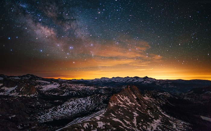 Yosemite forest stars sunset-Nature Photo HD Wallpaper Views:1410