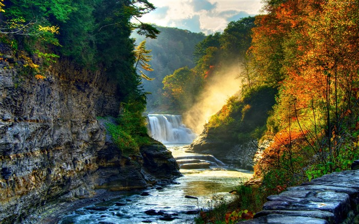 Title:Autumn forest trees waterfall river-Nature HD Wallpapers Views:3114