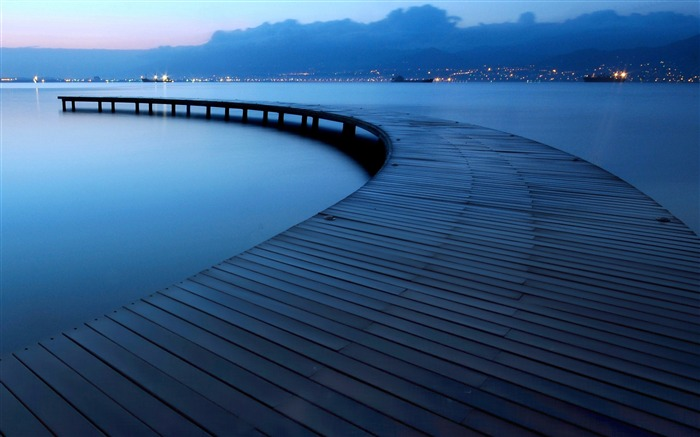 Blue lake evening pier-Nature High Quality Wallpaper Views:2090