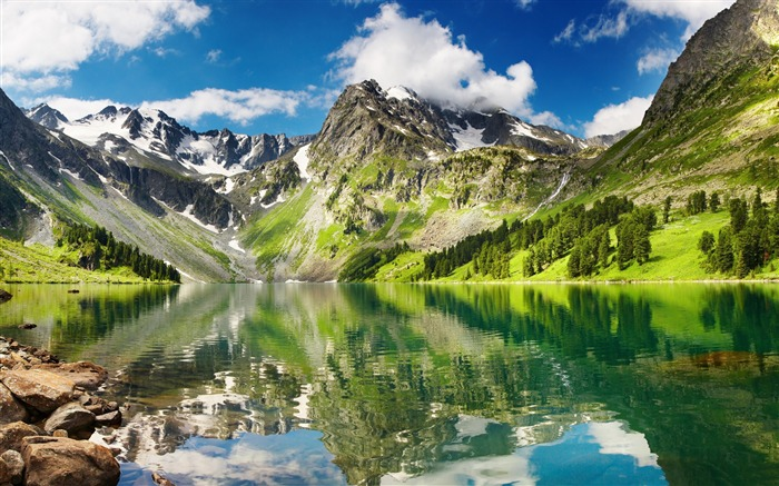 Forest mountains reflection-Nature HD Wallpaper Views:1779