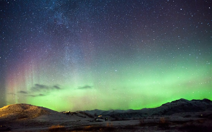 Iceland northern lights mountains-Nature High Quality Wallpaper Views:1769