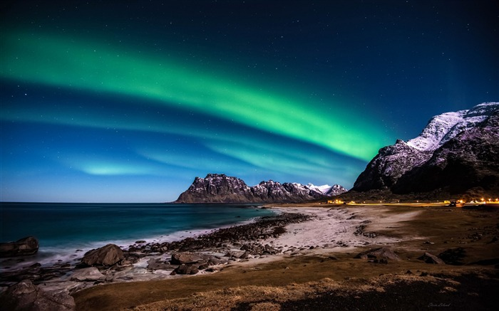 Title:Norway lofoten islands mountains aurora-Nature High Quality Wallpaper Views:2029