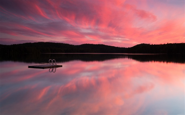 Pink sunset reflection sky clouds-Nature High Quality Wallpaper Views:1841