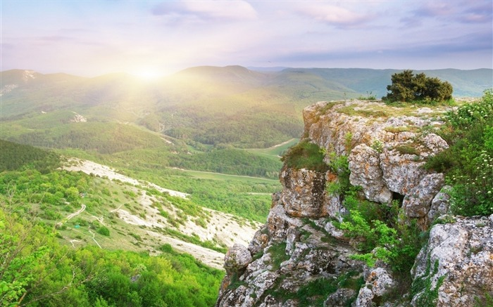 Sunbeams bushes stones mountains-Nature High Quality Wallpaper Views:1375