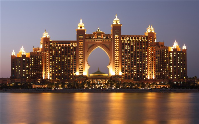 Dubai Atlantis Hotel Night Ocean-Cities Photo HD Wallpaper Views:1742