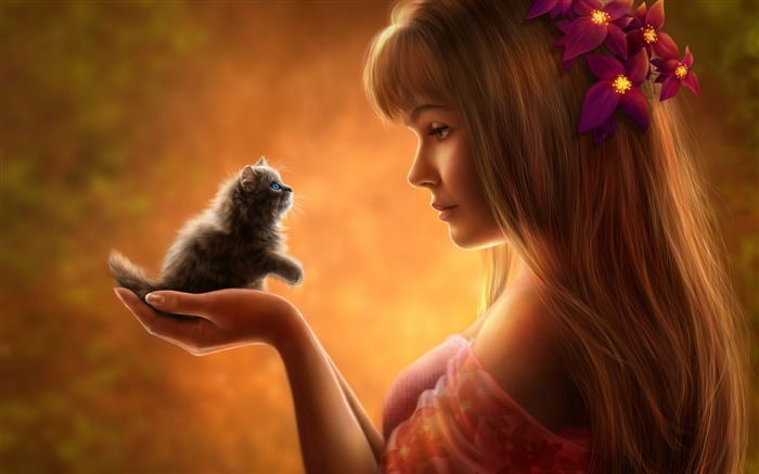 Girl and kitten anime-Widescreen High Quality Wallpaper Views:2255