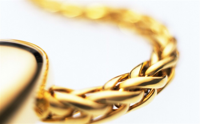 Gold Chain White Background-Still Life Macro HD Wallpaper Views:2133