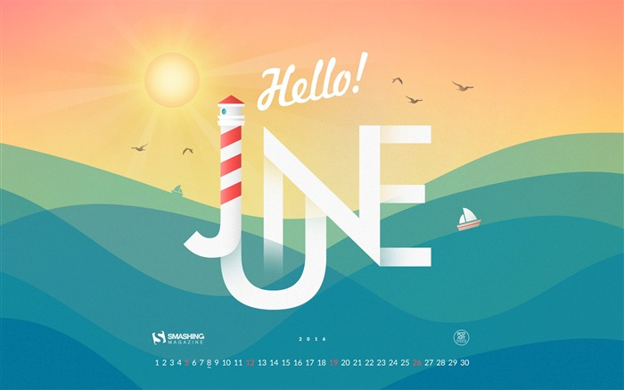 June 2016 Calendar Desktop Themes Wallpaper Views:6442