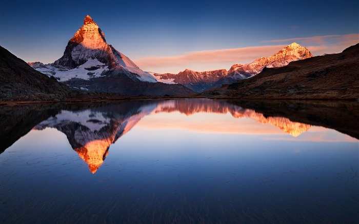 Lake snow mountain reflections sunset-Nature Scenery HD Wallpaper Views:1671