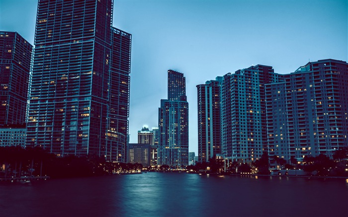 Miami night cityscapes-Cities Photo HD Wallpaper Views:1374