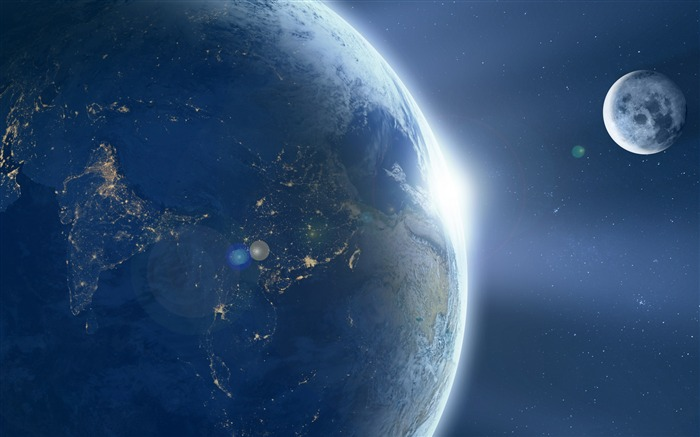 Moon orbiting earth-Widescreen High Quality Wallpaper Views:1569