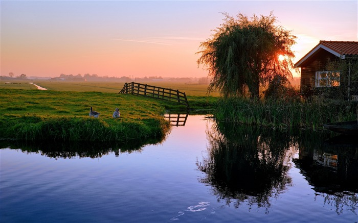 Pond house sunset village-Nature Scenery HD Wallpaper Views:2038