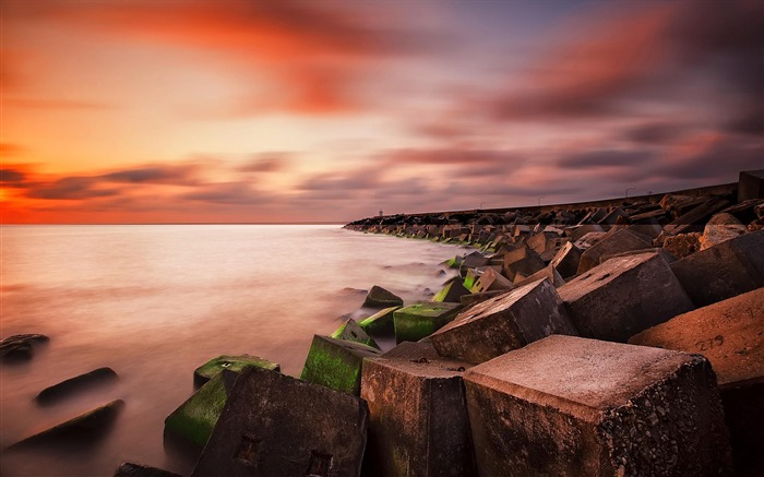 Red Sunset Coast Rocks-Nature Scenery HD Wallpaper Views:1932