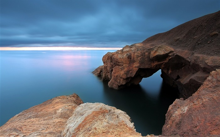 Rocks coast sea horizon-Scenery Photo HD Wallpaper Views:1219