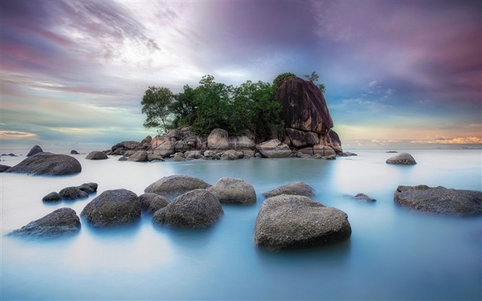 Rocks ocean island-Scenery Photo HD Wallpaper Views:1635
