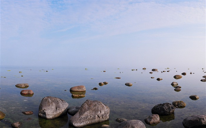 Stone calm morning on the lake-Nature Scenery HD Wallpaper Views:1602