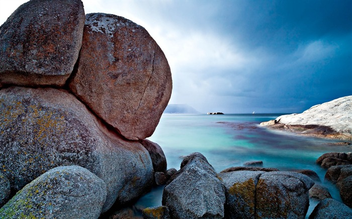 Stones boulders sky sea horizon-Scenery Photo HD Wallpaper Views:569