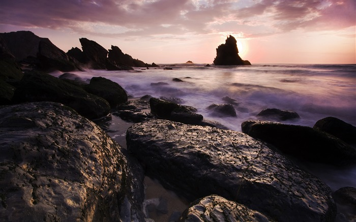 Sunset Beach Rocks-Nature Scenery HD Wallpaper Views:2008