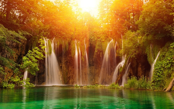 Sunshine forest waterfall-Nature Scenery HD Wallpaper Views:3545