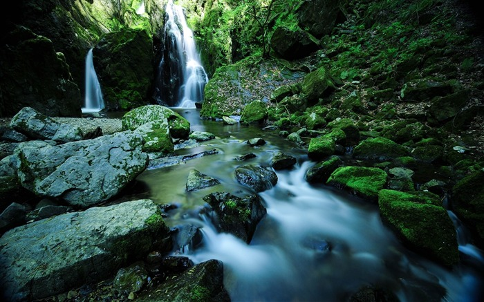Waterfall stones moss water-Scenery Photo HD Wallpaper Views:953
