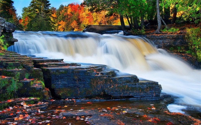 Forest river waterfall autumn-nature HD photo wallpaper Views:2849