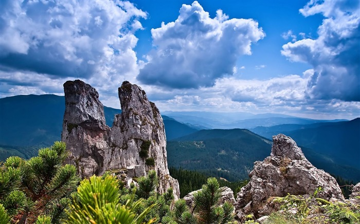 Forest rocky peaks rising clouds-scenery HD wallpaper Views:1050