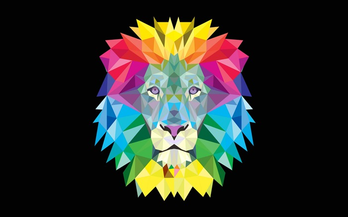 Colorful lion abstract-Vector HD Wallpaper Views:935