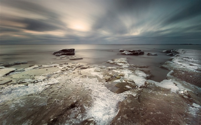 Ice coast stones sky clouds gray-Scenery High Quality Wallpaper Views:1473