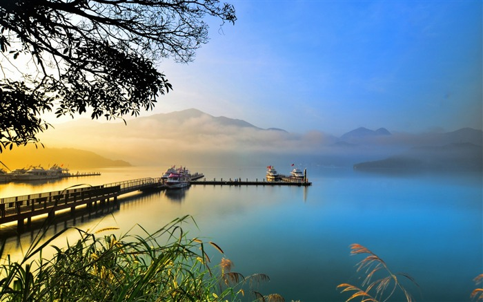 Summer lake sunset evening-Scenery High Quality Wallpaper Views:1925